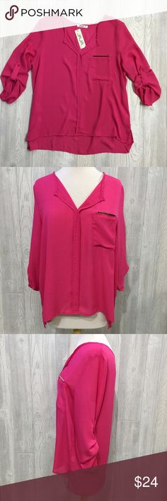 """PLUS V-Neck Blouse PLUS V-Neck Blouse w/ Gold Bar Detail Above Front Pocket, Beautiful Fuchsia, Roll Tab Sleeves to Become 3/4 Length, Semi-Sheer, Lightweight, 100% Poly, Length 26"""" in Front, 28"""" in Back rev 320 Tops Blouses"""