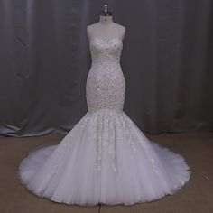 Trumpet+/+Mermaid+Wedding+Dress+Sweep+/+Brush+Train+Sweetheart+Tulle+with+Appliques+/+Beading+/+Crystal+–+USD+$+199.99
