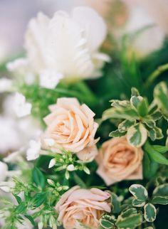 Big Love Wedding Design, peach rose bouquet with white tulips