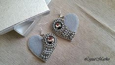 Grey&silver zipper elegant heart earrings