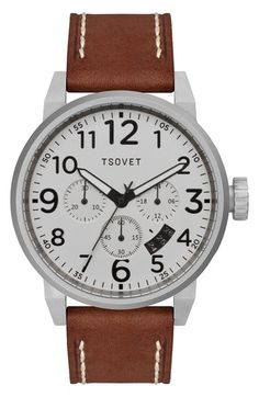 TSOVET+'JPT-TS44'+Chronograph+Leather+Strap+Watch,+44mm+available+at+#Nordstrom