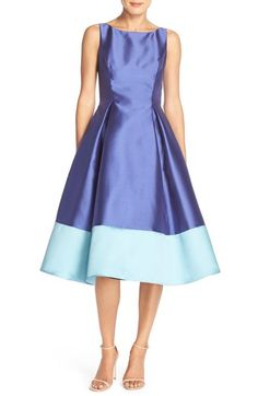 Adrianna Papell Colorblock Mikado Fit & Flare Dress (Petite) available at #Nordstrom