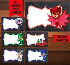 PJ Masks Food Labels-Printables Pj Mask Food Labels-Pj Mask Favors-Digital Pj Mask Food Labels-Pj Mask Party Decoration-DIGITAL DOWNLOAD by CosmicPrintArt on Etsy https://www.etsy.com/listing/500889766/pj-masks-food-labels-printables-pj-mask