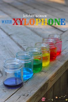 Kids Kitchen Science: Water Xylophone experiment - mixing water and science for a colourful sensory activity for kids! Kids Kitchen Science: Water Xylophone experiment - mixing water and science for a colourful sensory activity for kids! Science Experiments Kids, Science For Kids, Science Fair, Sound Science, Physical Science, Earth Science, Physical Education, Science Fiction, Science Centers