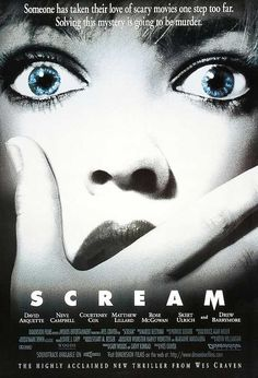 Scream When I saw this in Halloween was 18 years old. Watching it in Scream is 18 years old. Alls I know is, Halloween seemed a hell of a lot older at 18 in 1996 than Scream does in Thumbs up. I think the only problem I h Best Horror Movies, Scary Movies, Great Movies, Neve Campbell, Film Movie, Film Scream, Scream 1, Best Movie Posters, Horror Movie Posters