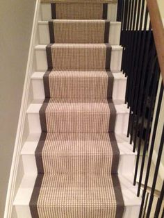 Client: Private Residence In West London Brief: To supply & install carpet as a stair runner with black edgings Carpet Installation, West London, Small Spaces, Entryway, Stairs, Home Decor, Black, Entrance, Stairway