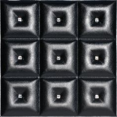 Dct lrt 19 Faux Leather Ceiling and Wall Tile in black with crystals is to be glued on a ceiling or a wall and create beatiful leather like look.  It soundproofing qualities make this tile perfect for home theaters, restaurants, pubs, casinos and anywhere else where noise reduction is needed.