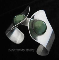 Art Deco Modern Wide Chrome Bakelite Cuff Bracelet