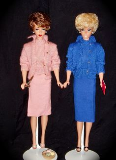Brownette Bubble and White Ginger Barbie dolls, possibly from the 60s