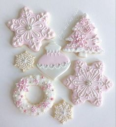 The whole set. Christmas cookies make the best gifts!! #theycallmesugar #pink and #white #Christmas #cookies #pointsettia #wreath #tree #ornaments #snowflakes #clt #charlotte #wisconsin #texas