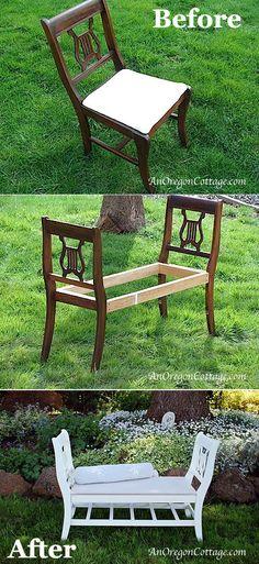Magazine Stool    via   Pallet Chair     via   Garden Bench     via   Repurposed Toddler Cot     via   Cabinet Turned Kitchen Stand     vi...