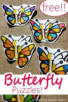 Adorable preschool butterfly puzzles!! Use in a file folder game, magnetic manipulative, coloring activity, and more!!