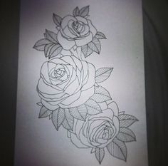 rose tattoo black and white thigh - Google Search