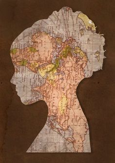 Silohette outline of children portrait on recycled map paper; Upcycle, recycle, salvage, diy, repurpose! For ideas and goods shop at Estate ReSale & ReDesign, Bonita Springs, FL