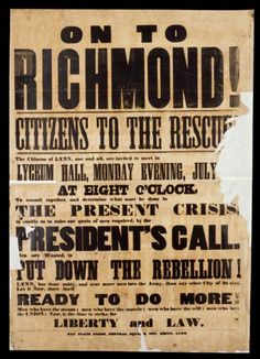 Lincoln calls for 75,000 military volunteers to 'still the insurrection in South Carolina'. (April 15, 1861)