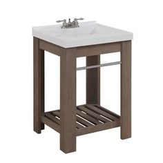 allen + roth Strabury 24-in x 21.5-in Specialty Driftwood Integral Single Sink Bathroom Vanity with Cultured Marble Top