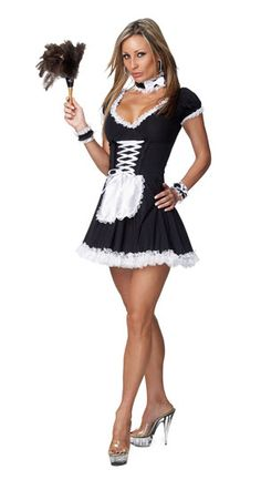 French Maid Costume Sexy French Maid Adult Costume Serving your favorite someone will surely bring a smile when wearing this sexy chamber maid outfit. Sexy Adult Costumes, Easy Funny Halloween Costumes, Maid Lingerie, Jolie Lingerie, French Maid Costume, Maid Outfit, Costume Shop, Cute Woman, V Neck Dress