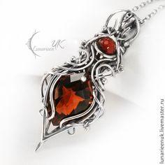Купить AXANTRIAH - wire wrap, серебро 925, кулон, ожерелье, оранжевый, цитрин мадера