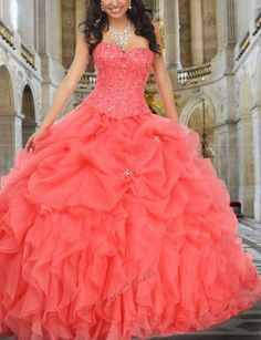 Generous Pink Organza Quinceanera Dresses Prom Ball Evening Party Gown Long