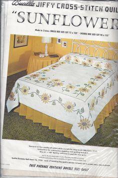 Vintage Bucilla Sunflower CrossStitch Quilt by VictorianWardrobe, $39.99