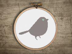 modern retro small baby bird cross stitch pattern  love by futska