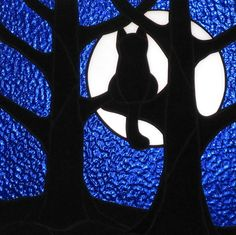 Stained+Glass+Black+Cat+Full+Moon+Hanging+Panel+by+LivingGlassArt,+$100.00