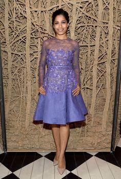Freida Pinto con vestido lavanda con flores y encaje de Elie Saab Couture .