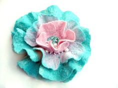 SALE. Felted rose. Mint blue and pink flower ♡ by Crafts2Love
