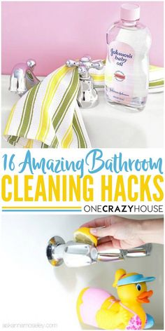 You will never clean your bathroom the same again when you see these genius tips and tricks! Cleaning Checklist, House Cleaning Tips, Diy Cleaning Products, Deep Cleaning, Spring Cleaning, Tips And Tricks, Bathroom Vanity Organization, Room Organization, Organisation Ideas