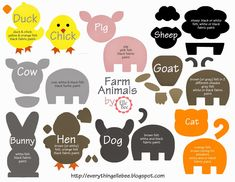 Little Bit of Everything. : FREE Printable Farm Animal Template for Felt BoardA Little Bit of Everything. : FREE Printable Farm Animal Template for Felt Board Felt Board Templates, Felt Board Patterns, Quiet Book Templates, Animal Templates, Felt Animal Patterns, Quiet Book Patterns, Templates Printable Free, Stuffed Animal Patterns, Felt Farm Animals Pattern