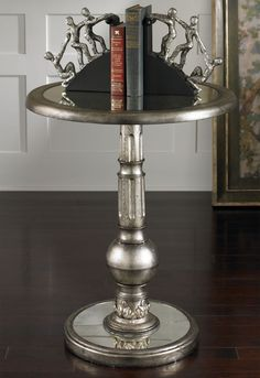 Baina Accent Table From Uttermost :: Burnished Silver Leaf Finish With  Champagne Highlights U0026 Antiqued Mirror Top And Base