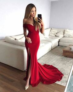 Sexy Mermaid Off-Shoulder Red Long Prom Dress Chiffon Evening Dress with Split by DRESS, $157.00 USD