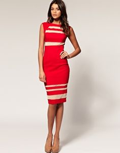 ASOS Midi Dress with Mesh Inserts