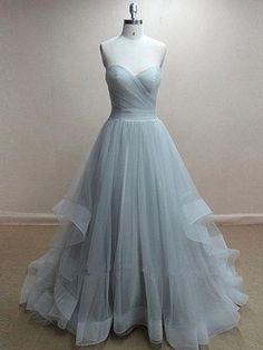 Princess Sweetheart Tulle Sweep Train Ruffles Graceful Prom Dresses #DGD020102507