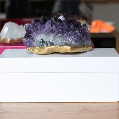 Geode Decor amethyst box / quartz box / mineral box / stone box / decor box