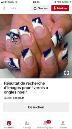 I wish I could find a nail person who does not roll his eyes when I ask for . Glitter French Nails, Purple Glitter Nails, Blue Nails, Beautiful Nail Designs, Cute Nail Designs, French Nail Designs, Cowboy Nails, Nails Now, Nail Candy