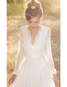 Robe de mariée dentelle manche longue - 30 robes de mariée en dentelle repérées sur Pinterest - Elle