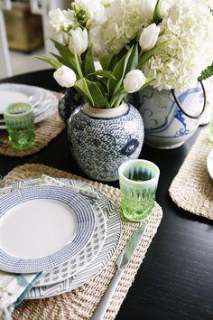 Spring tabletop in blue + white