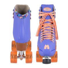 Moxi Beach Bunny Periwinkle Sunset Roller Skates. Purple skates with orange highlights at Lucky Skates