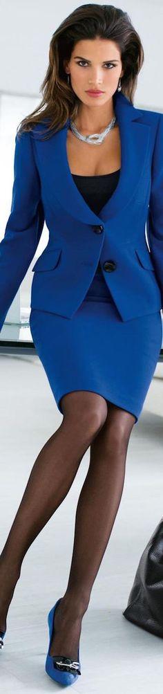 Fashion Work Wear | Rosamaria G Frangini | Madeleine Blue Suit