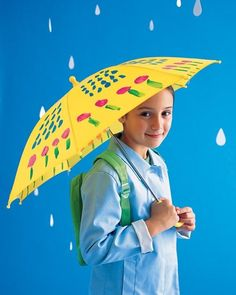 With a kid's nylon umbrella, paintbrushes, and permanent waterproof paint, such as fabric paint or acrylic, you can create the perfect rainy day accessory.Follow the manufacturer's directions: Some fabric paints require the addition of fixative; others require ironing the umbrella after painting. Carefully cover the work surface with newspaper before you begin, and have your child wear a smock. Once finished, keep the umbrella open overnight; the paint must dry completely before you close…