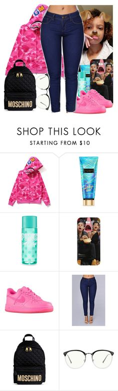 """""""OOTD"""" by shecutetho ❤ liked on Polyvore featuring Victoria's Secret, NIKE, Moschino and Linda Farrow"""
