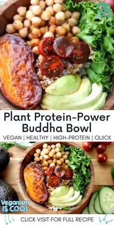 """Not only does this beautiful Bowl pack one heck of a protein punch, but it also happens to taste just as good as it looks! 👇 Click """"Visit"""" below for the full recipe 👇 Tasty Vegetarian Recipes, Healthy Dinner Recipes, Whole Food Recipes, Diet Recipes, Cooking Recipes, Healthy Meals, Salad Recipes, Healthy Food, Vegetarian Salad"""