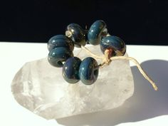 Blue whispers destash by HealingBeads on Etsy (Craft Supplies & Tools, Jewelry & Beading Supplies, Beads, handmade, blue, golden, quinlan glass, jewelry, Bracelet, Necklace, Earring, Shimmer, Gold fume, lampwork glass bead, lampwork destash, lampwork)