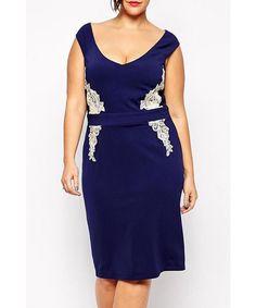 Stylish V-Neck Sleeveless Lace Spliced Plus Size Women's Dress