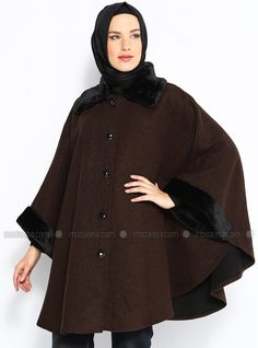 Poncho Fur Collar and Cuffs - Brown - Sultan-i Yegah
