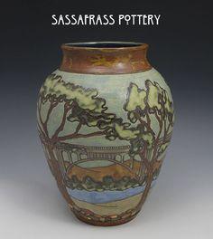 Sassafrass Pottery - Sarah Moore - Bridge Vase - SEG style art - Arts  Crafts - Craftsman - Greene  Greene - Bungalow - Home - Colorado Street Bridge