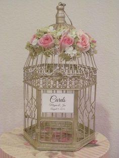 Shabby Chic Champagne #BirdcageWeddingCardHolder with Pearls | TheWeddingDecorPlace - Wedding on ArtFire