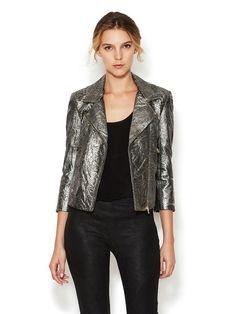 Ençok tercih edilen cilt kağıt renklerinden Gunmetal Cilt varak - Metallic Leather Motorcycle Jacket