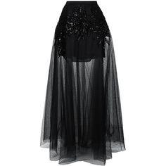 Elie Saab embellished sheer maxi skirt ($4,075) ❤ liked on Polyvore featuring skirts, black, embellished maxi skirt, long skirts, transparent skirt, elie saab and floor length skirt